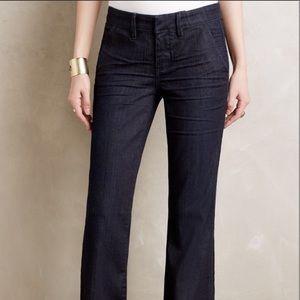 Pilcro Letterpress Dark Wash Flared Trousers Jeans